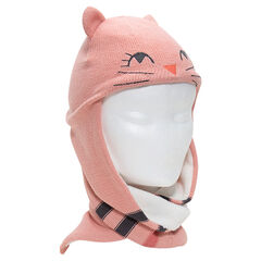 Knit scarf cap with ears in relief and a sherpa lining