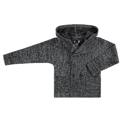 Junior - Hooded twisted knit cardigan with pockets