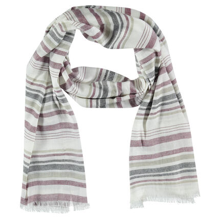 Worn-effect scarf with contrasting stripes