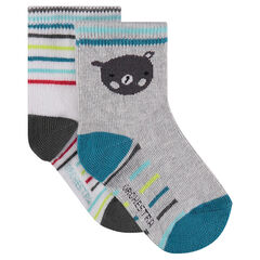 Set of 2 pairs of socks with bear motif / stripes