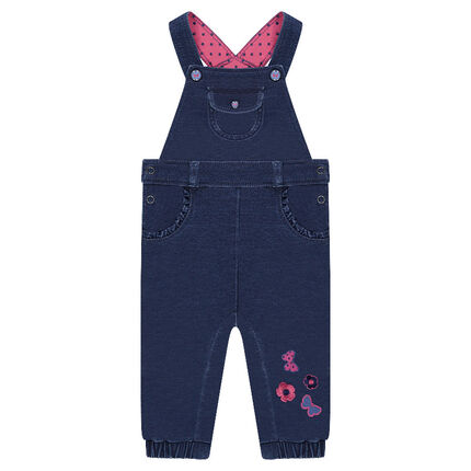 Long denim-effect fleece overalls with embroidered motifs
