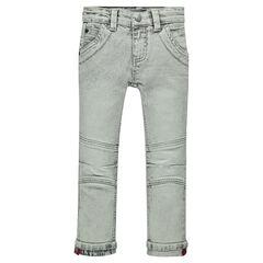 Distressed slim fit jeans with printed turn-ups