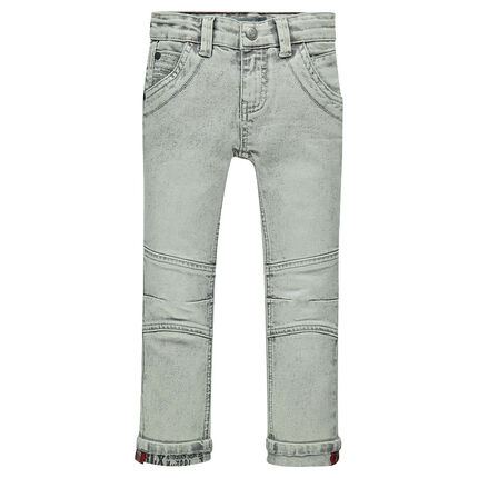 Junior - Distressed slim fit jeans with printed turn-ups