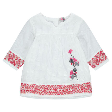 Embroidered tunic in cotton voile fabric