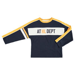 Long-sleeved box fit tee-shirt with contrasting bands