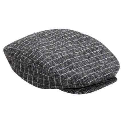 Checkered flannel newsboy cap