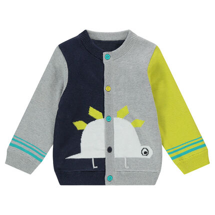 Knit cardigan with jacquard dinosaurs and contrasting buttons