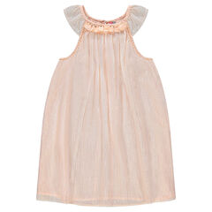Sleeveless dress with frills and trendy neckline