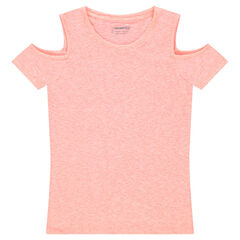 Junior - Short-sleeved heathered tee-shirt with bare shoulders