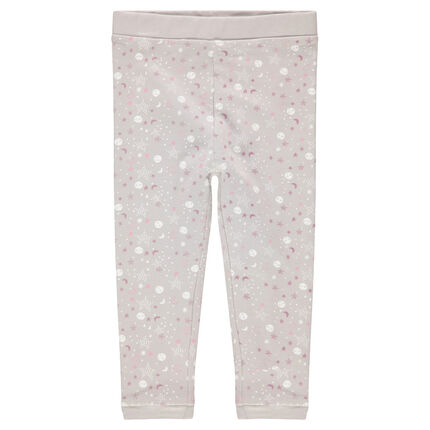 Jersey pants with allover printed stars and moons