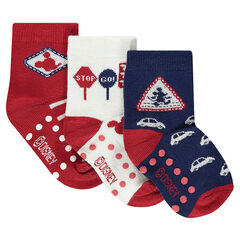 Set of 3 pairs of assorted socks with Disney Mickey Mouse motif