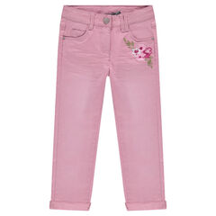 Crinkled-effect twill pants with embroidered flowers