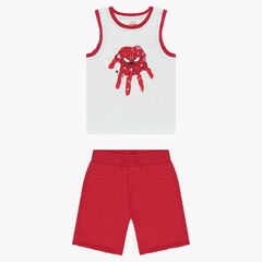 Ensemble with featuring a tank top geaturing a ©Marvel Spiderman print and red fleece bermuda shorts