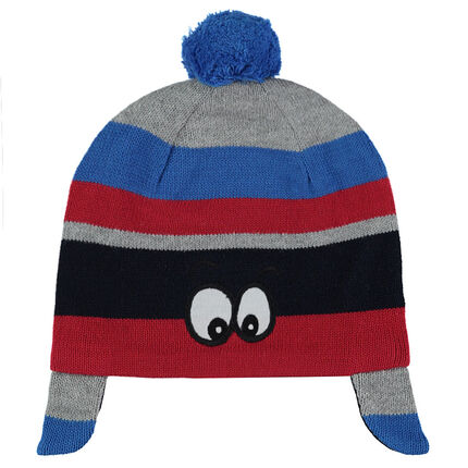 Knit cap with contrasting stripes and eye patches
