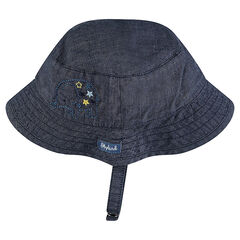 Chambray sailor's sun hat with an embroidered elephant