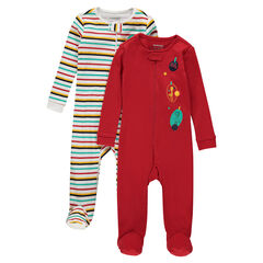 Set of 2 zipped jersey footed sleepers with printed animals