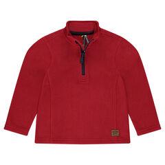 Plain-colored microfleece sweatshirt with zipped collar