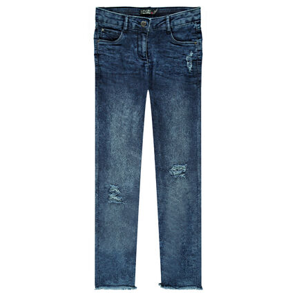 Junior - Used and crinkled-effect jeggings