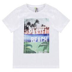 Junior - Short-sleeved tee-shirt with printed tropical landscape