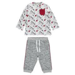 Allover print tee-shirt and fleece pants ensemble