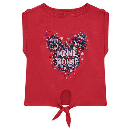 Short-sleeved knotted tee-shirt with a Disney Minnie Mouse print