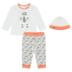 Unicorn print jersey pajamas with matching hat