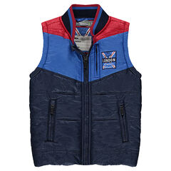 Sleeveless, tricolored down jacket with zipped pockets