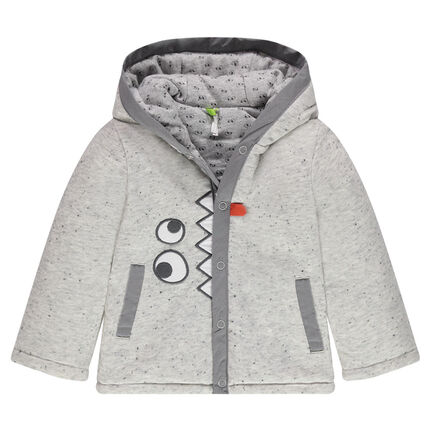 Fleece hooded jacket with embroidered eyes and teeth