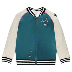 Junior - Embroidered bi-material letterman cardigan with fake fur lining