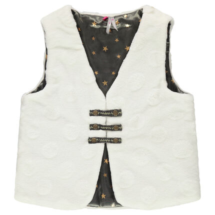 Sleeveless sherpa cardigan with textured polka dots and satin lining