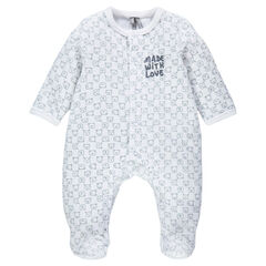 Velvet footed sleeper with an allover print and a printed message