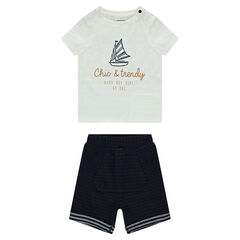 Ensemble with a short-sleeved tee-shirt featuring a sailboat print and bermuda shorts