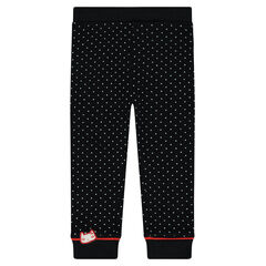 Jersey leggings with allover polka dots and cat badge