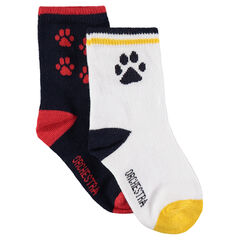 Set of 2 pairs of matching socks with jacquard paw prints