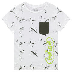 Short-sleeved tee-shirt featuring a stain-effect and skateboard print
