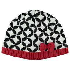 Knit cap with jacquard print and bow