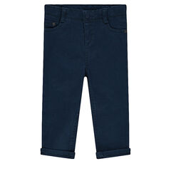 Slim fit pants in plain-colored canvas