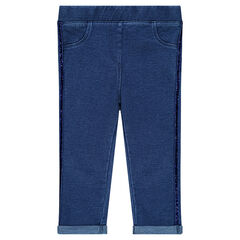 Plain-colored jeggings with sparkly bands