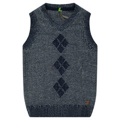 Knit sleeveless sweater with jacquard pattern