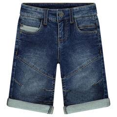 Used denim-effect fleece bermuda shorts with rips