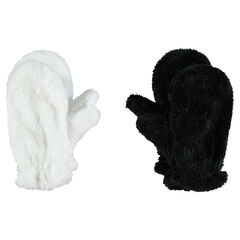 Set of 2 pairs of sherpa mittens
