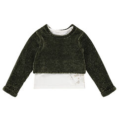 2-in-1 chenille and jersey sweater with printed motif