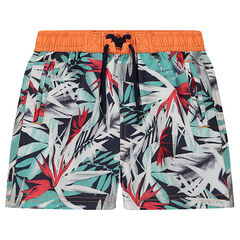 Swim trunks with an allover vegetation print