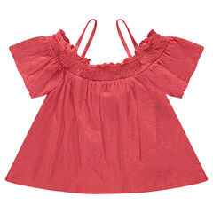 Tee-shirt with frilled sleeves and thin straps