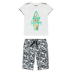 Ensemble with a tee-shirt featuring a surfboard print and bermuda shorts with allover flowers