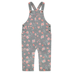 Long fleece overalls with roses printed all over