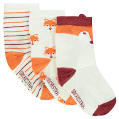 Set of 3 pairs of assorted socks with fox motif