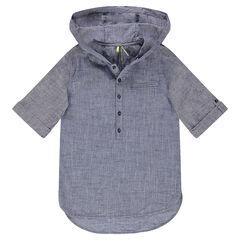 Junior - Chemise manches courtes à capuche en coton faux uni