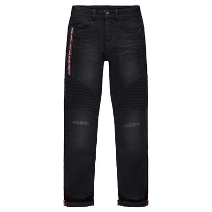 Junior - Used and crinkled-effect skinny fit jeans with an appliqué band