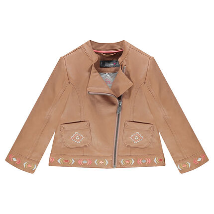 Leather-effect biker jacket with inca embroidery